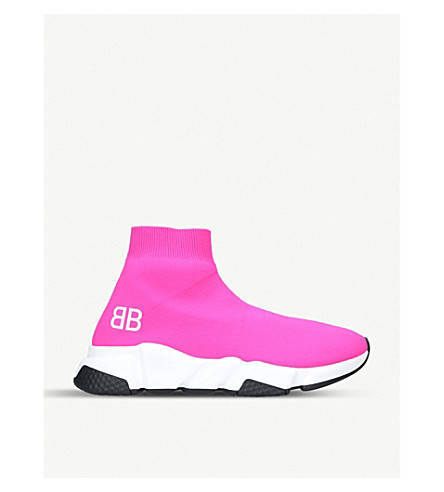 Cheap Shopping Online Marketable BALENCIAGA Speed woven mid-top trainers Pale pink Cheap Extremely Sale Discounts Sale Factory Outlet Jkkd8ZD