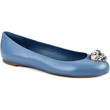 ALEXANDER MCQUEEN Rattle leather pumps (Blue