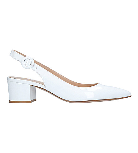 GIANVITO ROSSI Amee patent-leather slingback courts (White