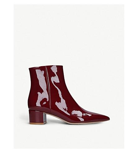 GIANVITO ROSSI精英45专利皮革脚踝靴 (葡萄酒