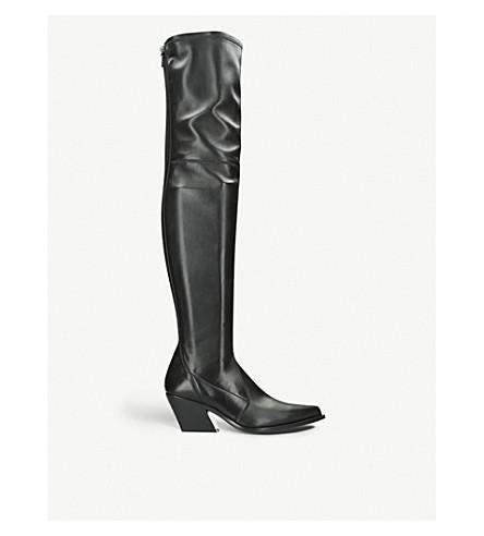 GIVENCHY 高弹力皮革方形鞋跟靴子 (黑色