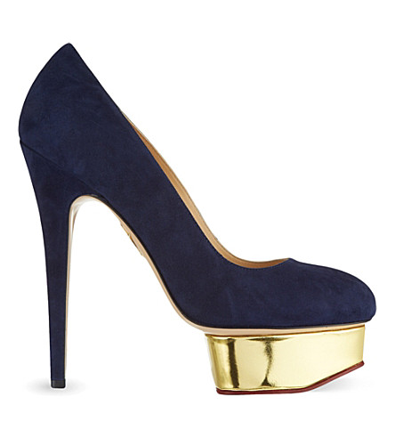 CHARLOTTE OLYMPIA Dolly suede courts (Navy