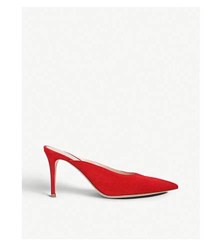 GIANVITO ROSSI Paige 85 suede heeled mules (Red