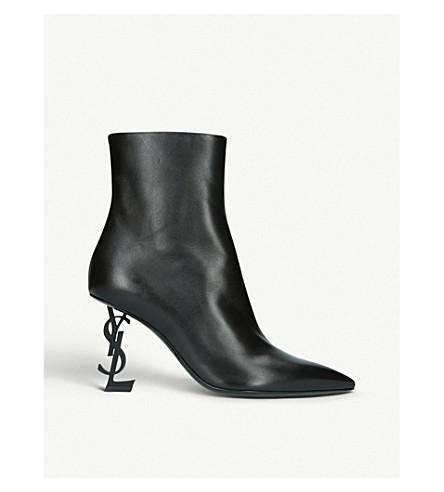 SAINT LAURENT Opyum 85 皮革踝靴 (黑色
