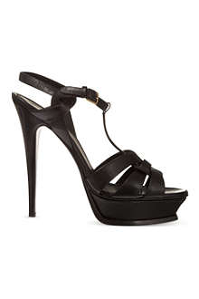 SAINT LAURENT Classic tribute sandals in textured black leather