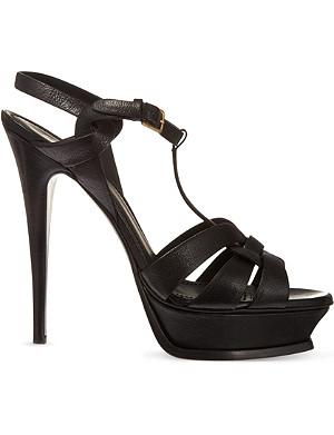 SAINT LAURENT Classic tribute sandals in textured black leather