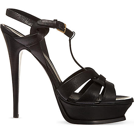 SAINT LAURENT Tribute leather platform sandals (Black