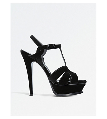 SAINT LAURENT Tribute 105 velvet heeled sandals (Black