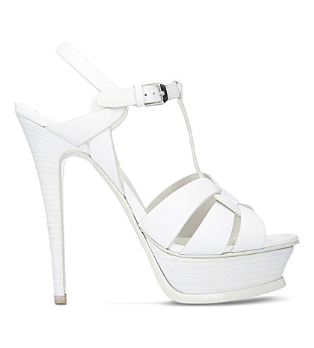 SAINT LAURENT Tribute 105 leather heeled sandals (Winter+wht