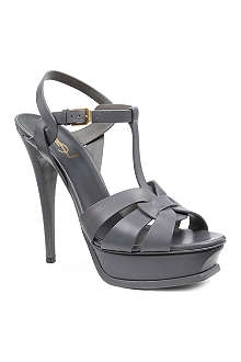 SAINT LAURENT Classic tribute sandals in grey leather