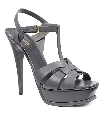 SAINT LAURENT Classic tribute sandals in grey leather (Grey