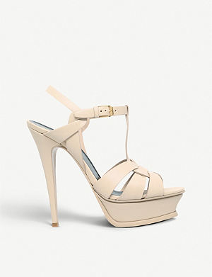 SAINT LAURENT Classic tribute sandals in nude leather