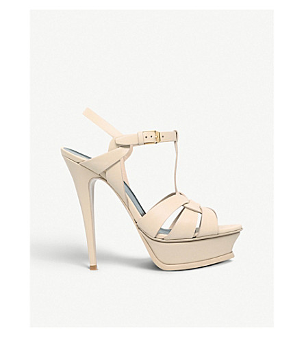 SAINT LAURENT Tribute 105 leather heeled sandals (Nude