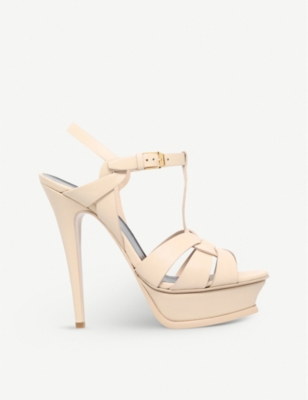 Tribute 105 Patent Leather Platform Sandals in Nude