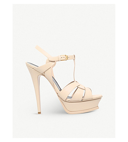 SAINT LAURENT Tribute patent leather platform sandals (Nude