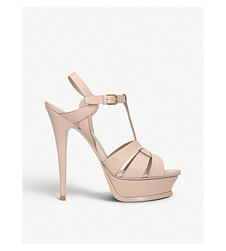 SAINT LAURENT Tribute patent leather heeled sandals (Nude