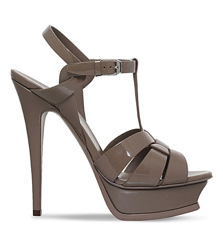 SAINT LAURENT Tribute 105 patent-leather heeled sandals (Taupe+comb