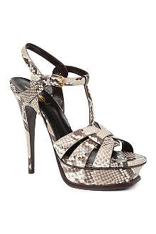 SAINT LAURENT Tribute python-print platform sandals