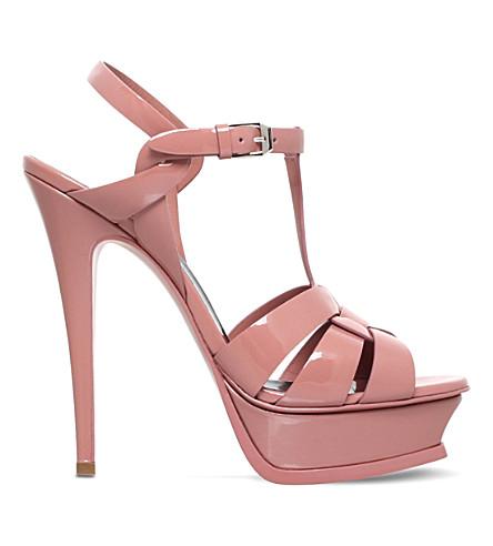 SAINT LAURENT Tribute 105 patent-leather sandals (Pale+pink