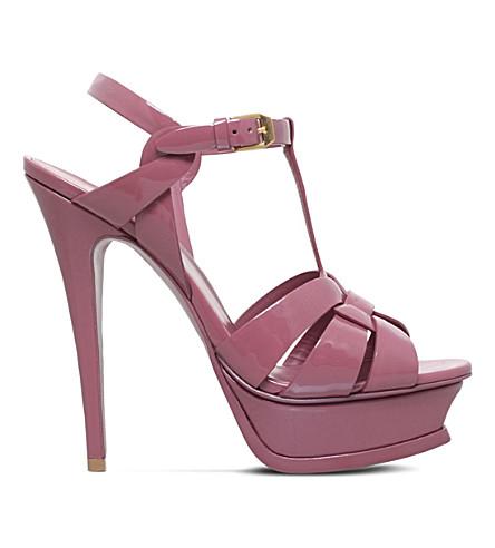 SAINT LAURENT Tribute patent-leather sandals 105 (Pink+comb