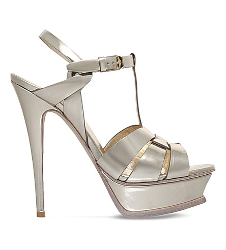 SAINT LAURENT Tribute 105 leather heeled sandals (Bronze