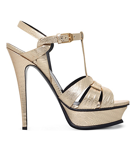 SAINT LAURENT Tribute 105 leather heeled sandals (Gold