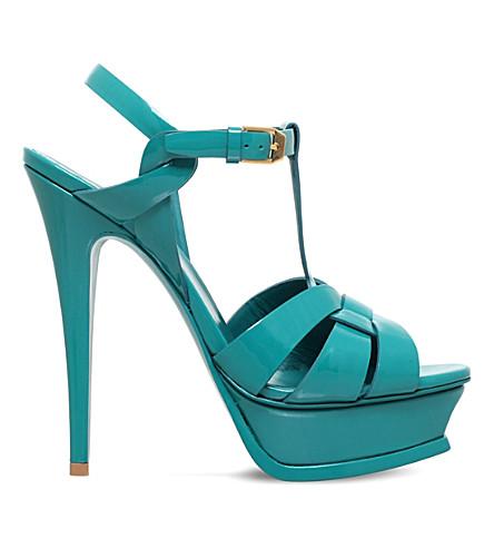 SAINT LAURENT Tribute 105 patent-leather sandals (Turq+other