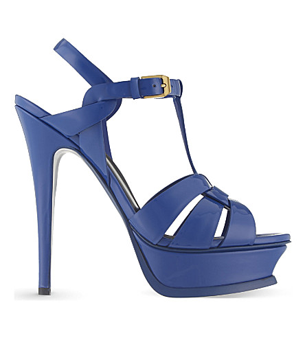 SAINT LAURENT Tribute 105 patent-leather heeled sandals (Blue