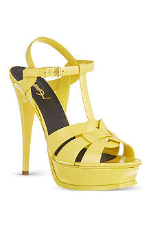 SAINT LAURENT Tribute 105 patent sandals