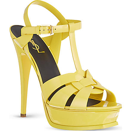 SAINT LAURENT Tribute 105 patent sandals (Yellow