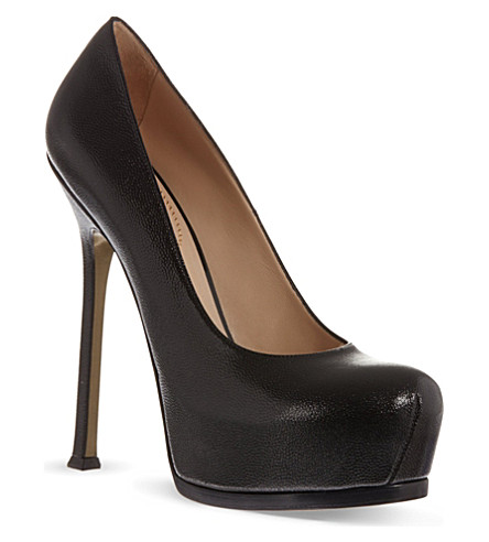SAINT LAURENT Heeled pumps in black leather (Black