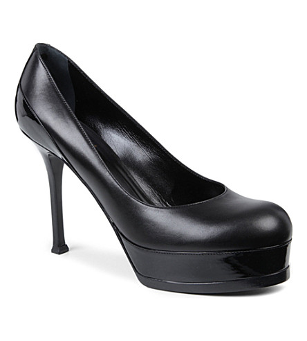 SAINT LAURENT Tribtoo leather mid-heel courts (Black