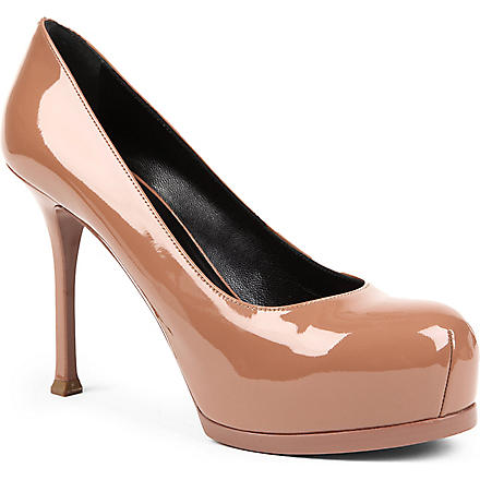 SAINT LAURENT Tribtoo patent mid-heel courts (Nude