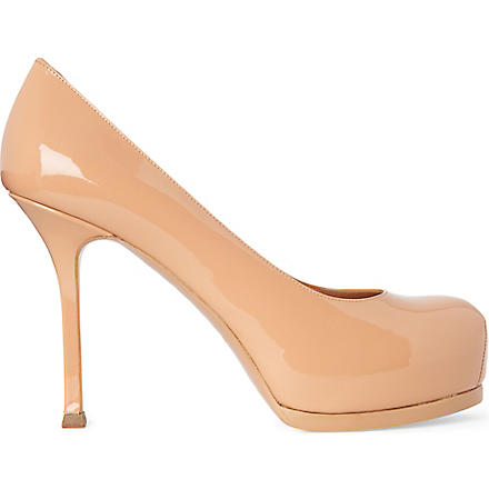 SAINT LAURENT Tribtoo patent leather mid-heel courts (Nude