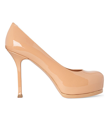 SAINT LAURENT Tribtoo patent leather mid-heel courts (Nude