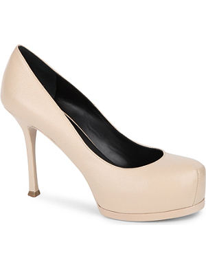 SAINT LAURENT Paris escarpin pumps in beige leather