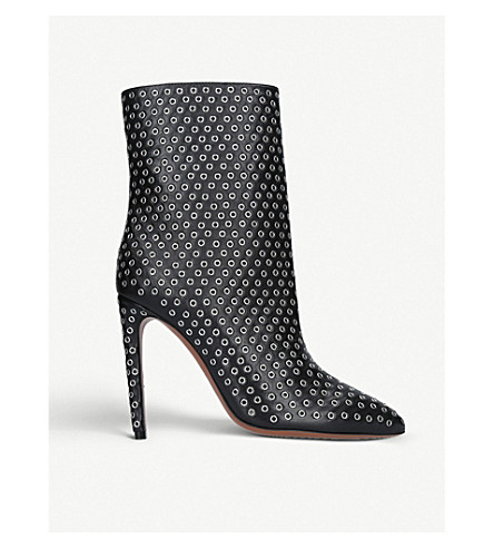 AZZEDINE ALAIA Rivet 110 leather ankle boots (Black