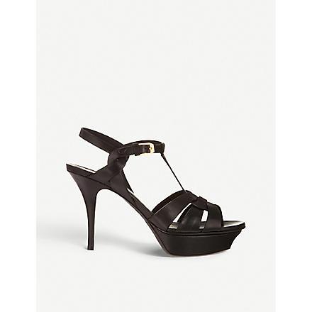 SAINT LAURENT Classic tribute sandals in black leather (Black