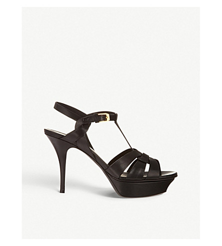 SAINT LAURENT Tribute 75 leather heeled sandals (Black