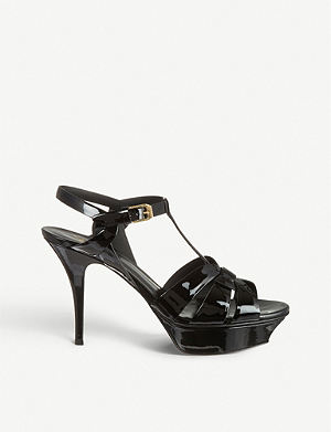 SAINT LAURENT Classic tribute sandals in black patent leather