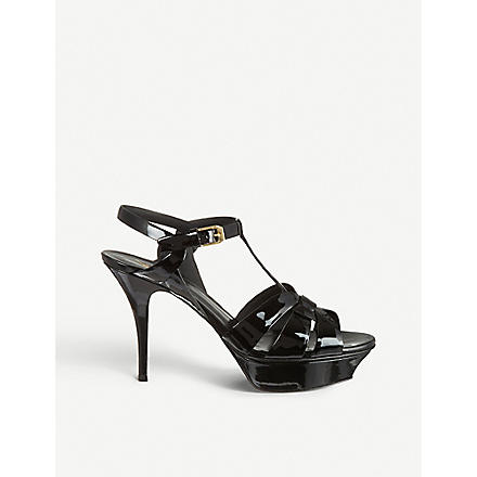 SAINT LAURENT Classic tribute sandals in black patent leather (Black