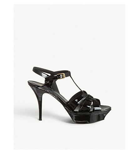 SAINT LAURENT Tribute 75 patent-leather heeled sandals (Black