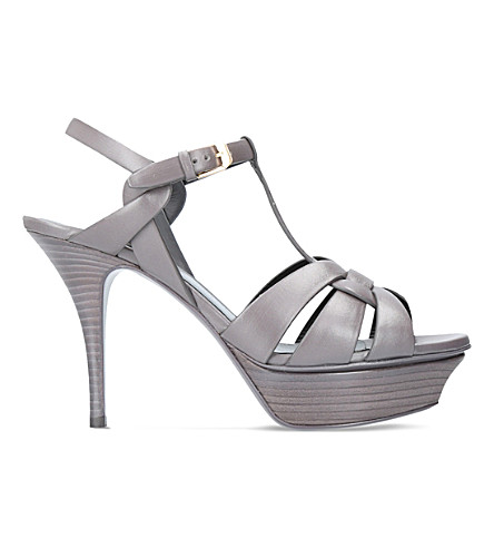 SAINT LAURENT Tribute 75 leather heeled sandals (Grey