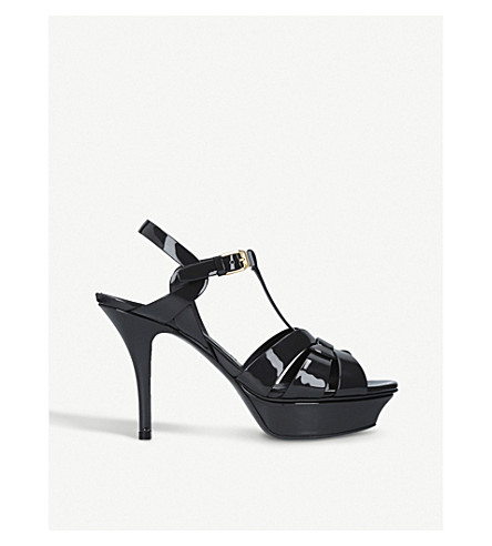 SAINT LAURENT Tribute 75 patent-leather heeled sandals (Grey/dark