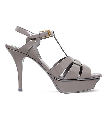 SAINT LAURENT Tribute 75 patent-leather platform sandals (Grey+mid