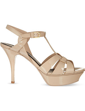 SAINT LAURENT Classic tribute sandals in nude patent leather