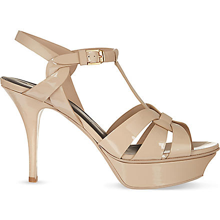 SAINT LAURENT Tribute 75 patent leather sandals (Nude