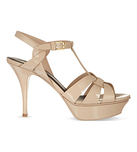 SAINT LAURENT Tribute 75 patent-leather heeled sandals (Nude