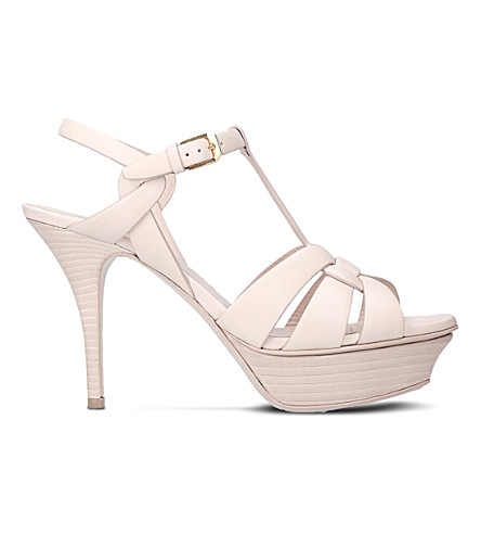 SAINT LAURENT Tribute 75 leather heeled sandals (Bone