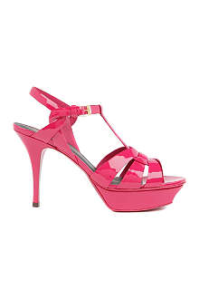 SAINT LAURENT Classic tribute sandals in pink patent leather